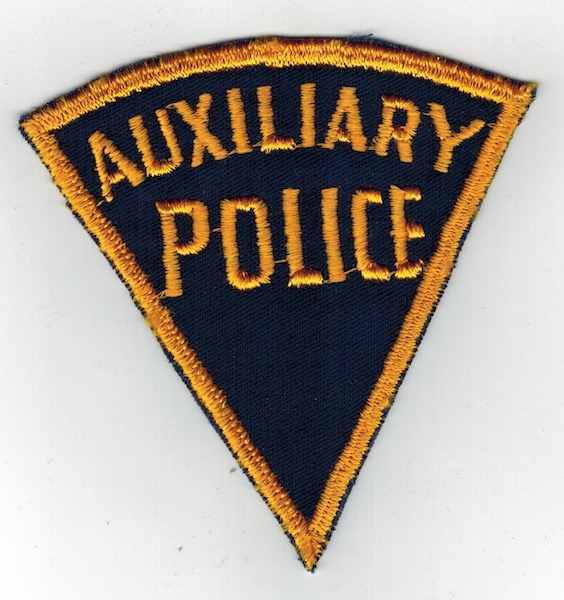 AUXILIARY POLICE PIE SHAPE BLUE