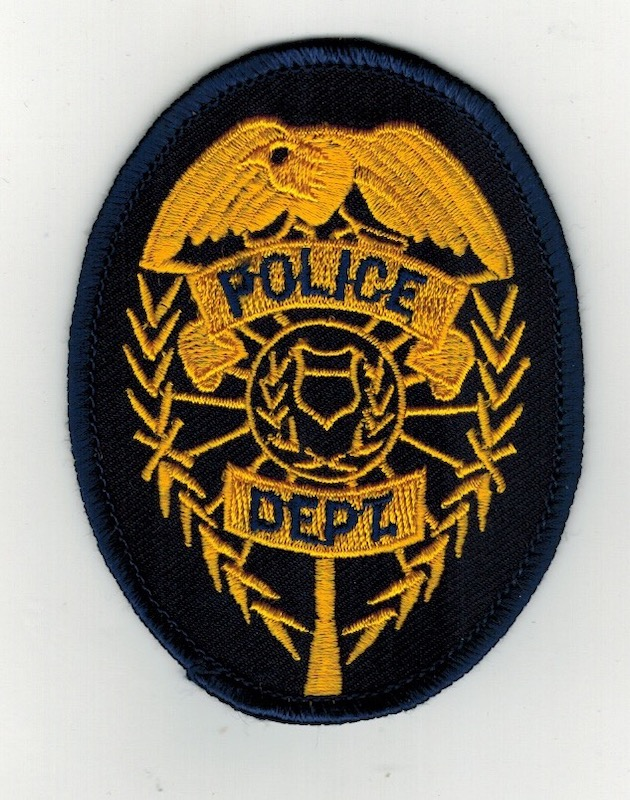 "POLICE DEPT. BADGE PATCH GOLD 3 1/2"" (25)"